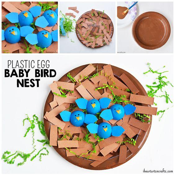 Plastic egg birds nest craft pinterest crafts easter for Baby bird nest craft