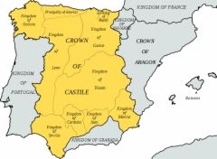 Castile and Aragon established regional monarchies after 1400, and were united through royal marriage in 1469.  They believed that they had a mission to convert or expel Muslims and Jews to maintain doctrinal purity.  This is a map that shows the Castile land and Aragon lands.