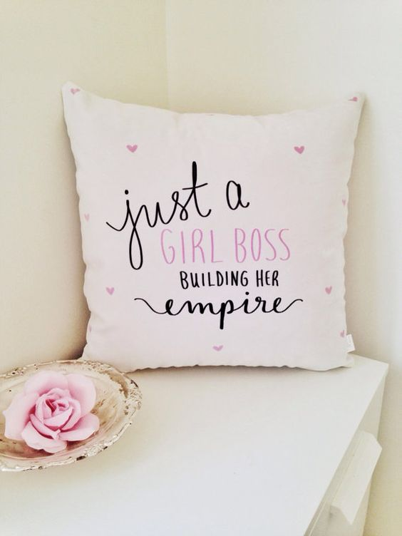 "THE ORIGINAL Just a Girl Boss - Building Her Empire - 18"" handwritten velveteen quote pillow cover"
