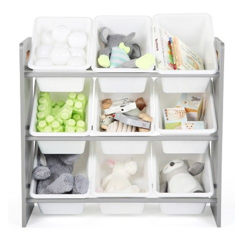 Wood Toy Organizer With 9 Plastic Bins Gray White Target Toy Storage Organization Kids Toy Organization Plastic Bins