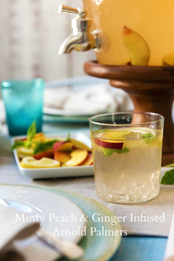 Meal delivery service HelloFresh shares its recipe for Minty Peach & Ginger Infused Arnold Palmers with Pottery Barn.