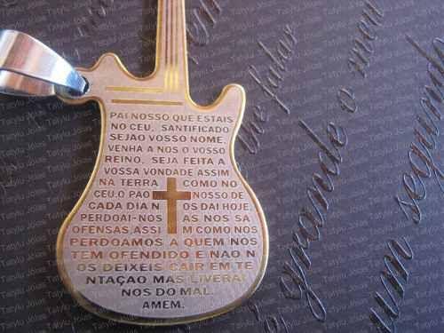 Pingente P/corrente,colar Guitarra Violão Oração Pai Nosso