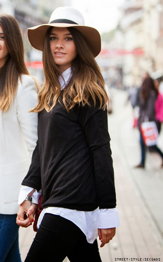 Simple & Stylish: black and white outfit with fedora hat STREET STYLE SECONDS