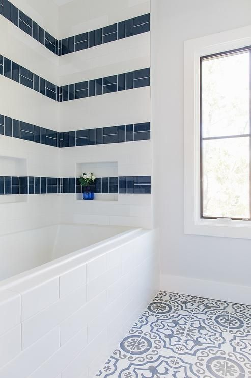 Glossy Blue Tiles Are Striped Across White Subway Surround Tiles Accenting A Niche And Fixed Above A White Subway Small Bathroom White Bathroom Trendy Bathroom