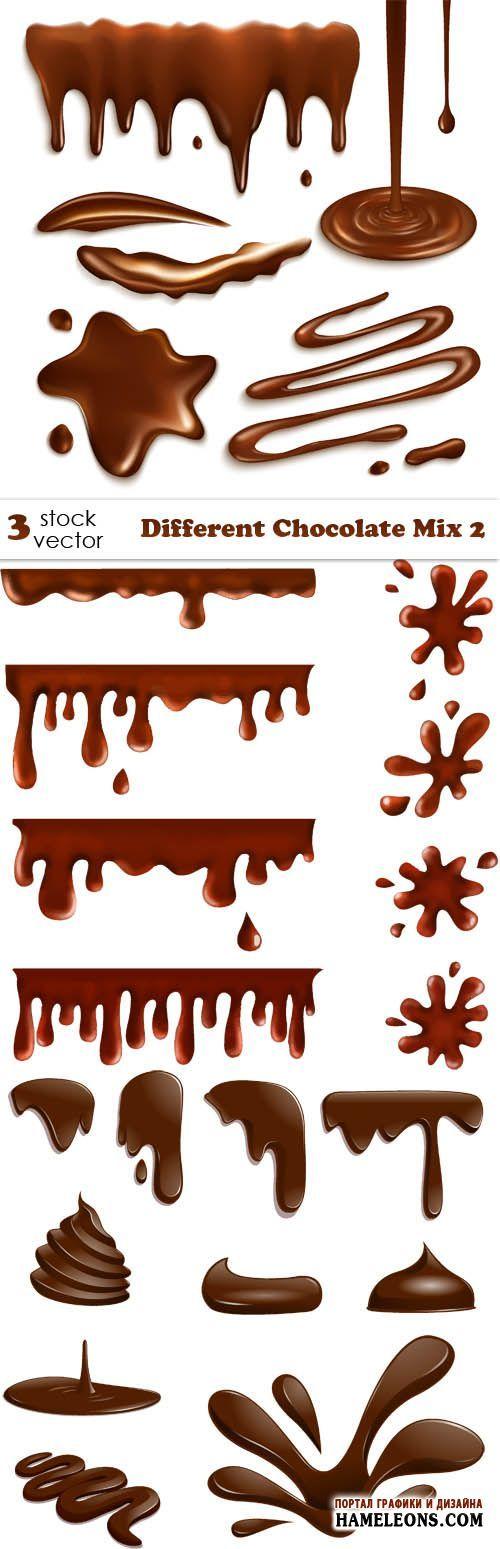 Капли шоколада, рисунки шоколадом, струи шоколада - векторный клипарт | Chocolate