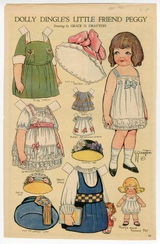 Dolly Dingle's Little Friend Peggy  paper doll  1920  Artist:  Grace G. Drayton