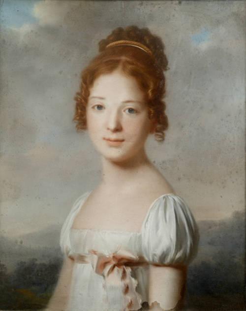 English School, Portrait of girl in a landscape, ca. 1800