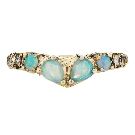 MANIAMANIA 14K YELLOW GOLD V-SHAPED BAND RING WITH TWO ROSE-CUT PEAR-SHAPED OPALS, TWO 2MM ROUND ROSE CUT OPALS, AND PAVE OF DIAMONDS ON BAND