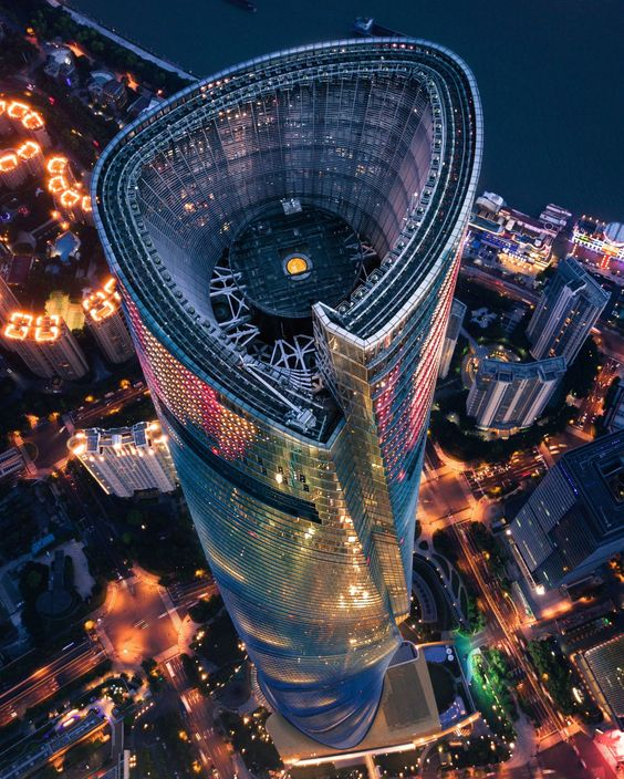 Looking down at the parapet of Shanghai Tower