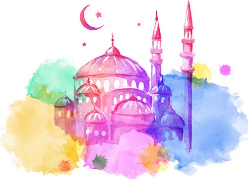Watercolor Drawing Ramadan Kareem Background Seni Inspirasi