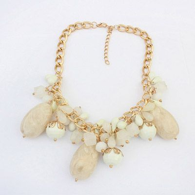 Beaded Beige Gemstone Decorated Candy Color Design Alloy Korean Necklaces  www.asujewelry.com