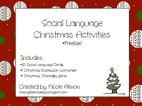 speech peeps freebie social skills for christmas repinned by sos inc resources follow all. Black Bedroom Furniture Sets. Home Design Ideas