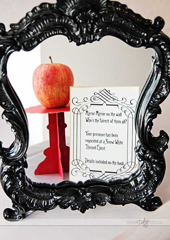 Invitations to a snow white themed movie night that can only been ...