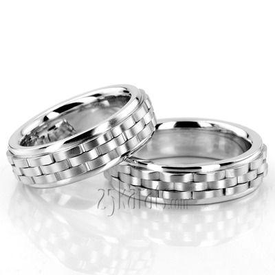 Contemporary Rolex Style Fancy Carved Wedding Ring Set #weddingband #25karats