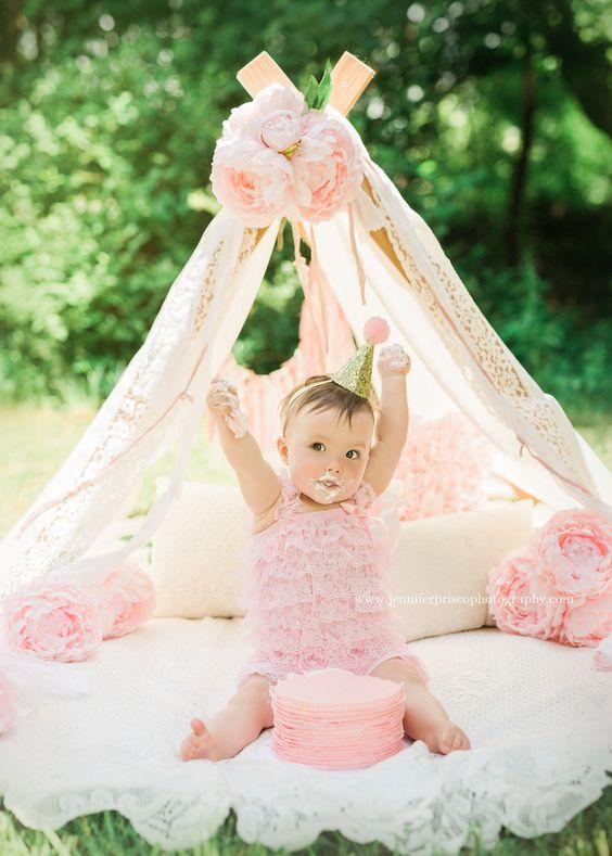Pink and Gold Cake Smash || Outdoor Cake Smash ||  Peonies  ||  Photography Tent || Lace || Pink Romper || Girl Cake Smash  || Boston Child Photographer || Jennifer Prisco Photography