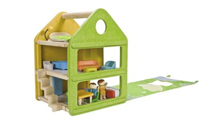 PlanToys USA | Plan Toy Catalog  I love how the walls/roof fold down to make the yard. It's kind of portable