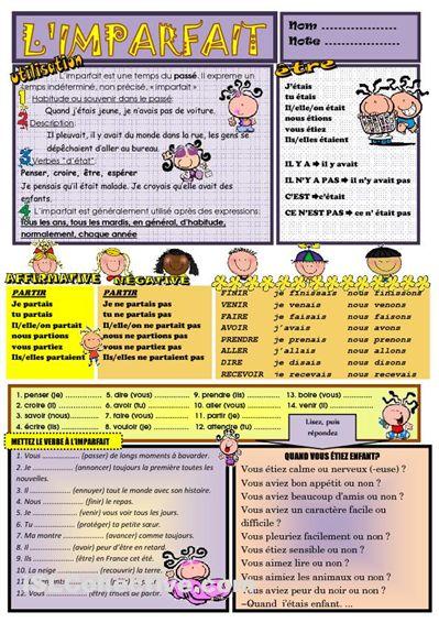 L'IMPARFAIT  Exercices:  http://www.laits.utexas.edu/tex/gr/tap6.html