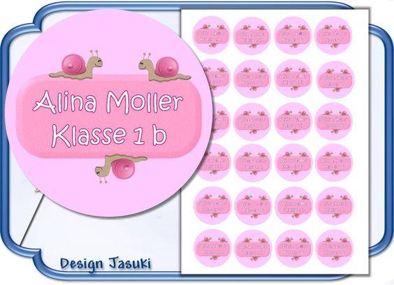 24 Sticker  Aufkleber Schnecke, Einschulung von Jasuki auf DaWanda.com