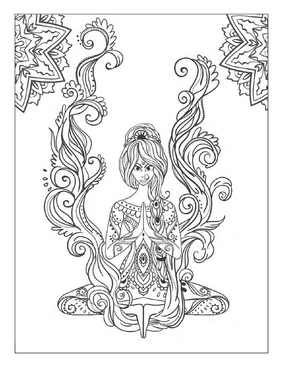 Yoga and meditation coloring book for adults: With Yoga Poses and Mandalas: