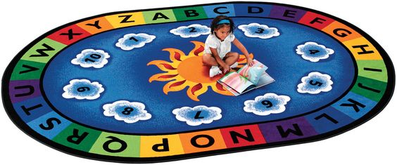 "CK-9416 Sunny Day Learn & Play Carpet, 8'3"" x 11'8"" Oval"
