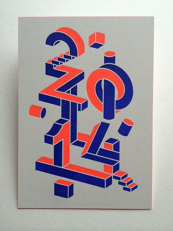 Print : Badcass - Design :  Bornstein & Sponchiado - Carte de voeux en letterpress - #débossage #pantone #fluo