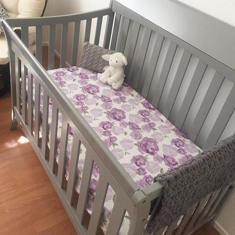Floral Purple Watercolor Crib Sheet Baby Room Colors Purple