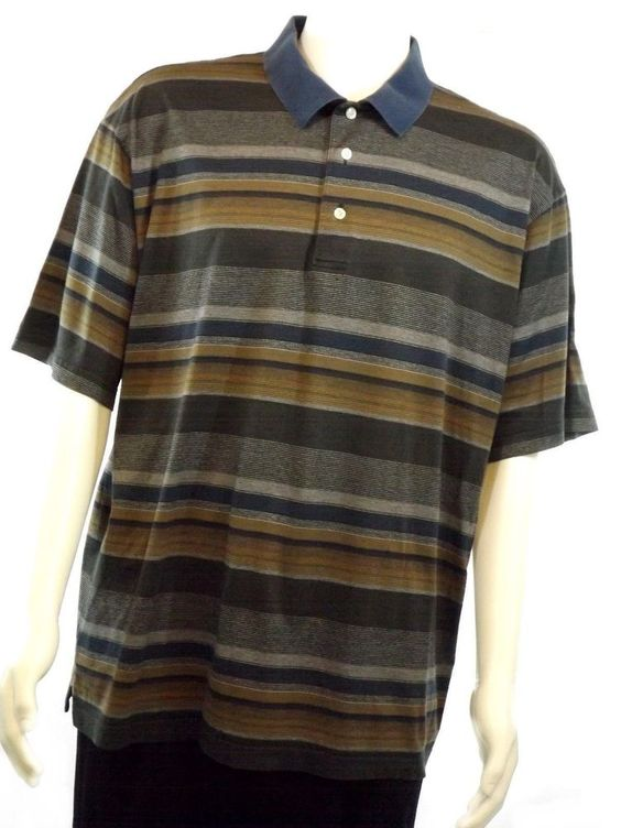 David Cremieux Men's XL Cotton Polo Shirt Short Sleeve Multi-Color Striped EUC #DannielCremieux #PoloRugby