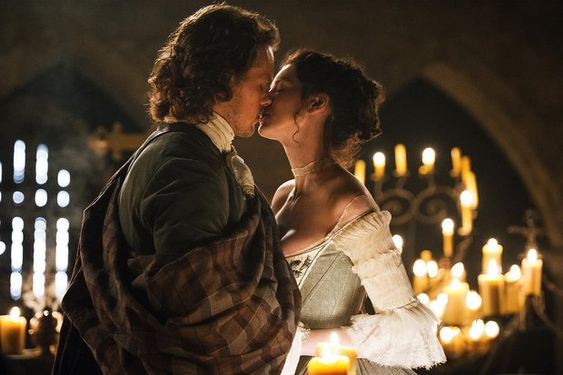 Jamie Fraser (Sam Heughan) and Claire Fraser (Caitriona Balfe) in the 'Outlander' 'Wedding' episode