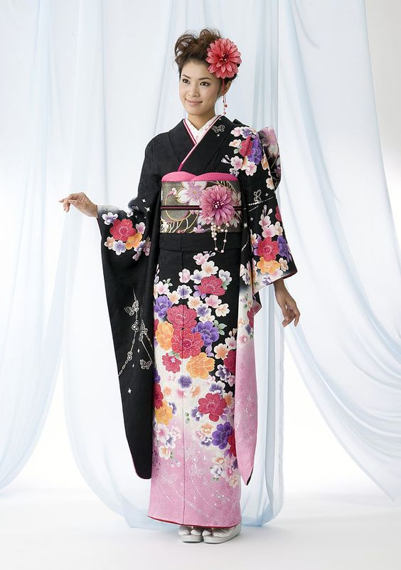 Unique Vintage Japanese Kimono Yukata Haori Costume Retro Women Dress Obi