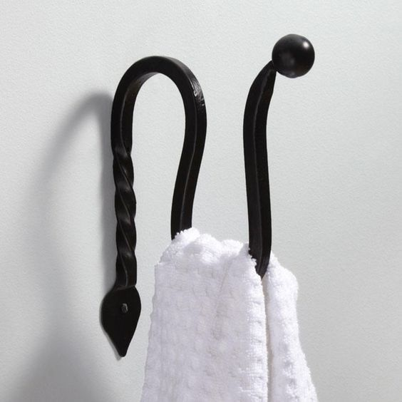 Gothic Collection Cast Iron Towel Hook Matte Black Powder Coat Powder Towels And Gothic
