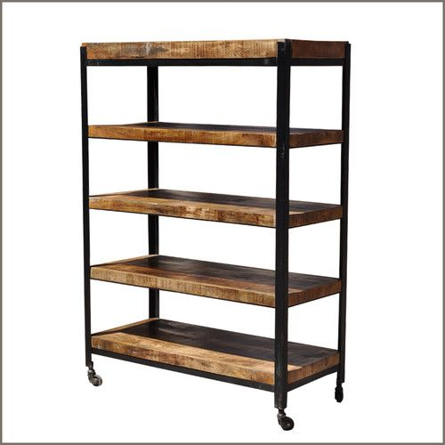 industrial 5 open rack storage shelf wrought iron metal. Black Bedroom Furniture Sets. Home Design Ideas