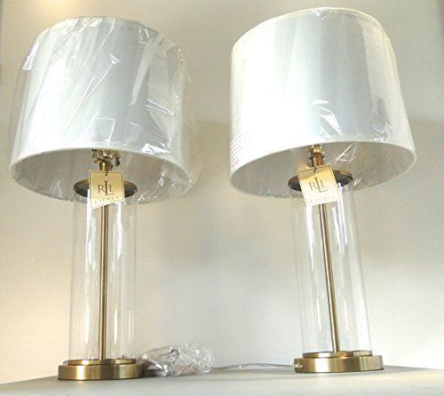 2 Ralph Lauren Home Payton Glass Cylinder Antiqued Brass Table Lamps Lamp Shade Lamp Brass Table Lamps White Lamp Shade