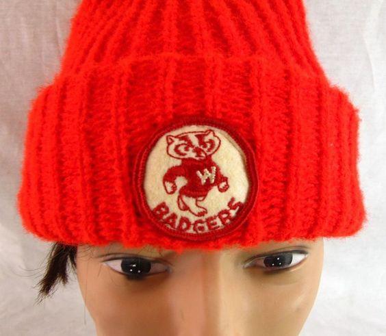 Wisconsin Badgers Vintage Stocking Cap Red Wool Hat Bucky Beanie UW Red & White #WisconsinBadgers