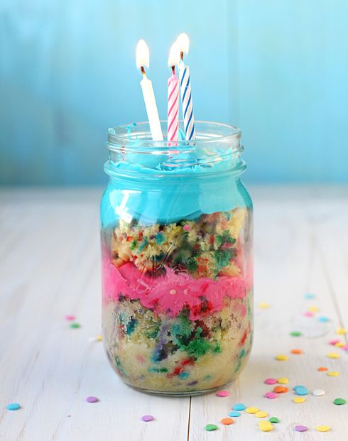 So awesomely fun and festive! Birthday cake in a canning jar. #food #mason #jar #birthday #cake #funfetti