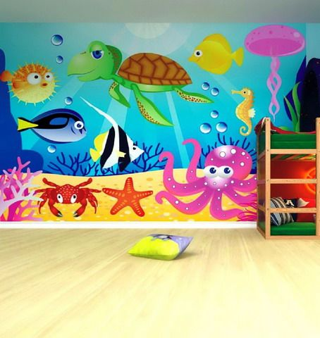 Colorful and Beautiful Sea Animals Wall Murals in Kids Bedroom Design Ideas