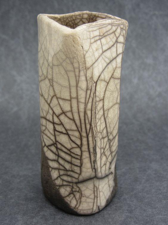 small tall raku vase with white craquelling glaze