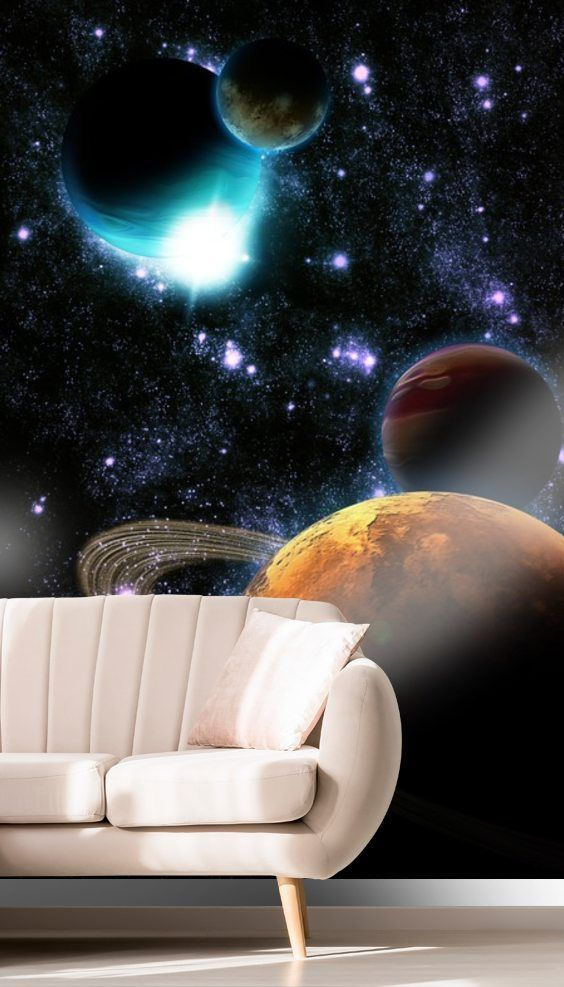 This High Quality Abstract Planets With Star Nebula Wallpaper Mural Is Custom Made Easy To Order And Install P Nasa Wallpaper Nebula Wallpaper Mural Wallpaper