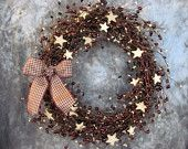 "18"" Cream Wood Star Americana Berry DOUBLE  Twig Door Wall Wreath  Patriotic USA 4th of July Memorial Day"