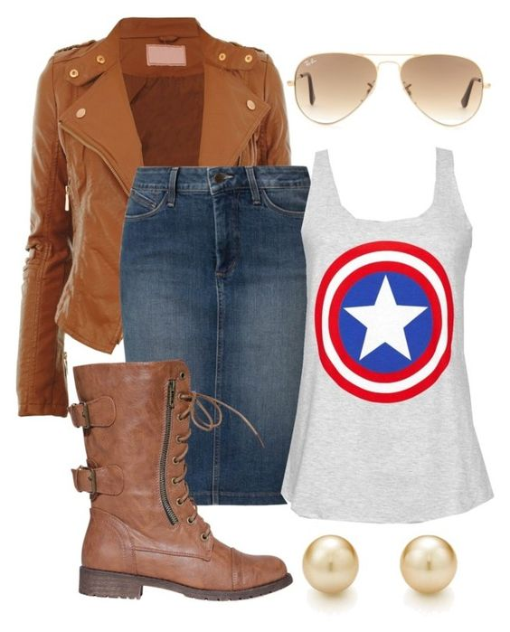 """""""Captain America """" by the-modest-closet ❤ liked on Polyvore featuring NYDJ, Ray-Ban and Tiffany & Co."""