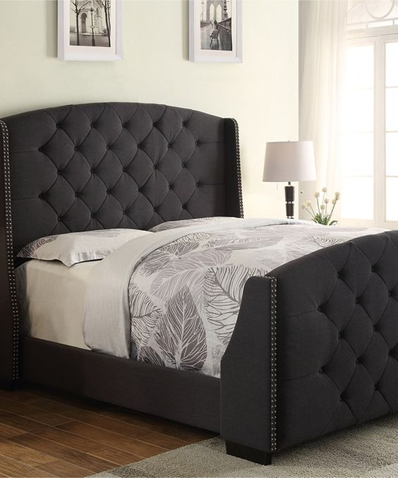 look at this charcoal linosa tufted full queen headboard footboard set on zulily today. Black Bedroom Furniture Sets. Home Design Ideas