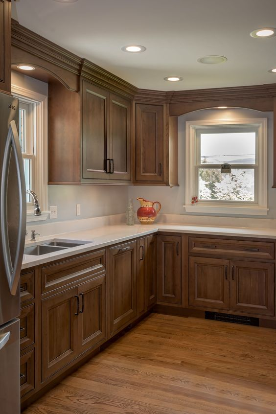 45 Elegant Gray Farmhouse Kitchen Cabinet Makeover Ideas Brown Kitchen Cabinets Kitchen Sink Decor Home Kitchens