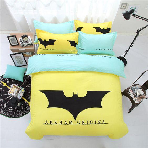 Home Textile Yellow Batman Bedding Cartoon Bed Linen Cover Bed Sheet Pillowcase Unbranded Lit Batman Rangement Maison Couvre Lit
