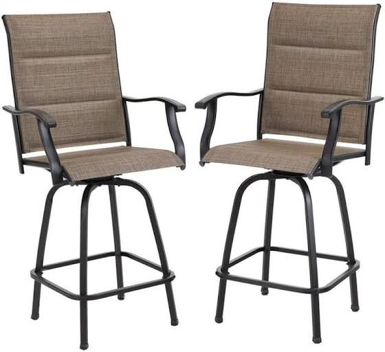 Mf Studio Outdoor Swivel Bar Stool Set Of 2 Patio Bar Chair Padded Textilene For Bistro Lawn All Weather Furnitu Patio Bar Stools Outdoor Bar Stools Bar Stools