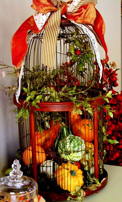 Fall Decorated Birdcage... I have just the birdcage to decorate! :)