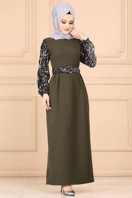 Modaselvim Elbise Kollari Payetli Tesettur Elbise 5660mp186 Haki Hijab Fashionista Islamic Dress Hijab Fashion