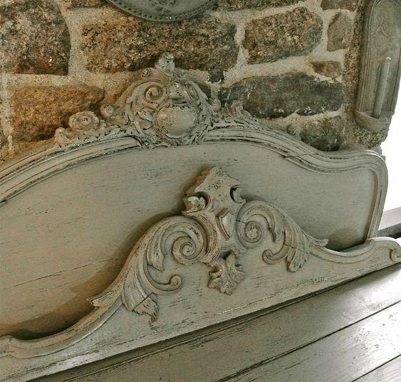 fronton et t te de lit patin s gris gustavien patine l 39 ancienne mes r alisations pinterest. Black Bedroom Furniture Sets. Home Design Ideas