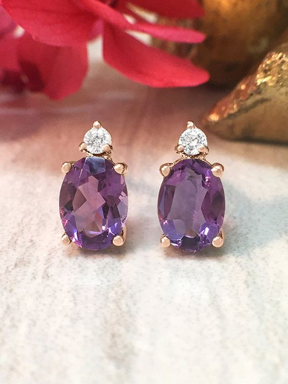 5x7MM Amethyst and Diamond Stud <Prong> Solid 14K Rose Gold (14KR) Colored Stone Earrings *Fine Jewelry* (Free Shipping)