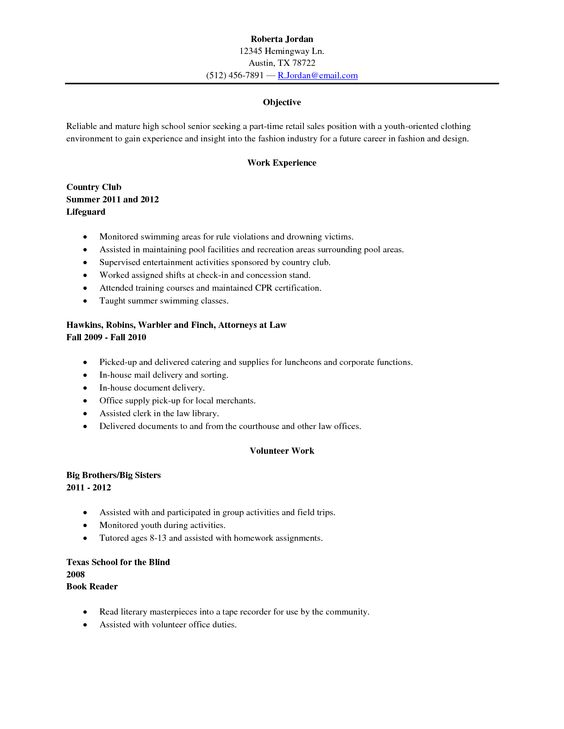 sample high school senior resume resume sample high school graduate everyday help