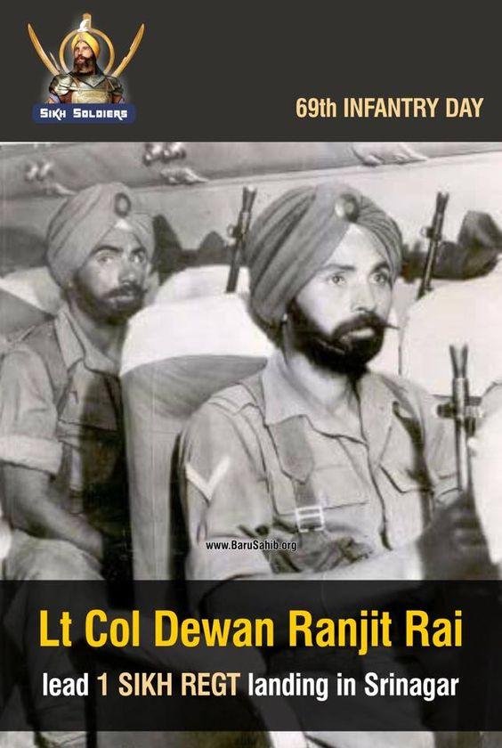 #DidYouKnow 69th INFANTRY DAY Lt Col Dewan Ranjit Rai lead 1 SIKH REGT landing in Srinagar Share & Spread!