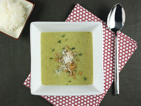 Roasted Potato and Leek Soup with Arugula and Crispy Shallots